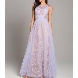 Lara lavender floral evening gown